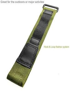 Voguestrap 17-22mm Green Hook and Loop Fastwrap Style Watchband Watch Strap