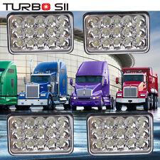 4PC LED Headlights For Peterbilt Rectangular Kenworth T800 T400 T600 W900B W900L