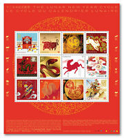 2021 Canada Lunar Chinese New Year Cycle Pane Of 12 Stamps All Different Animals