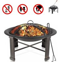 """28"""" Outdoor Fire Pit Wood Burning Backyard Patio Bowl Fireplace Heater w/ Cover"""
