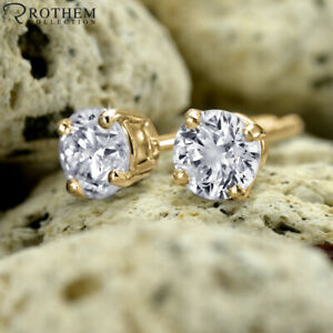 £1,600 Black Friday 1.02 CT Diamond Stud Earrings Yellow Gold I3 98951470