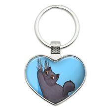 Kawaii Cute Cat Scratching Wall Heart Love Metal Keychain Key Chain Ring
