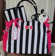 Betsey Johnson Diaper Bag Tote Weekender Baby 3 piece Stripes NWT