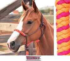 Classic Equine Rope Halter Orange Fuchsia Pink Horse Tack