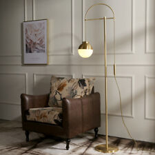 Nordic Style Golden Linear Floor Lights White Glass Globe Hanging Standing Lamps