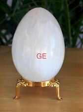 White Selenite Egg W/Stand Selenite Crystal Gemstone Specimen Reiki Chakra Heal.