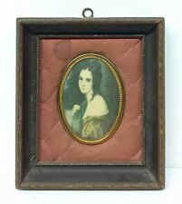 Antique Victorian Portrait of a Woman Framed with Quilted Mat