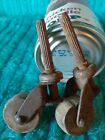 2 Old Early 20th Antique Industrial Furniture Metal Casters 1 in  Wood Wheels