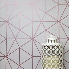 METRO PRISM GEOMETRIC WALLPAPER GREY AND ROSE GOLD - WOW009 WORLD OF WALLPAPER