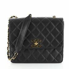 Chanel Vintage Square CC Flap Bag Quilted Caviar Medium