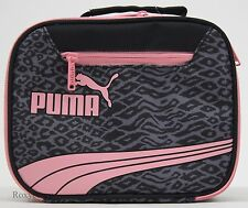 Puma Form Stripe Girls Grey & Pink Insulated Lunch Bag Box Tote 9x7x4 NWT