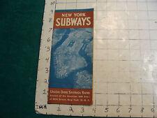 vintage travel item: NEW YORK SUBWAYS map Union Dime Savings Bank, 1948