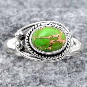 Copper Green Turquoise - Arizona 925 Sterling Silver Ring s.7.5 Jewelry 2688