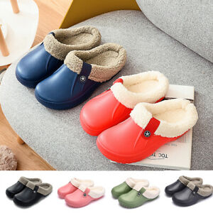 Waterproof Slippers Furry Lined Clogs Winter Garden Shoes Warmer Fur Mules Home