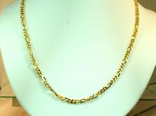 "22K THAI BAHT DP GOLD ~ 24""  POLISHED FIGARO MENS MEN UNISEX BIG CHAIN NECKLACE"