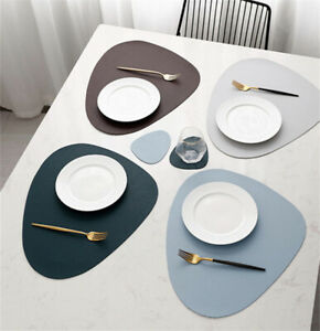 Placemat Table Mat Tableware Pad PU Leather Waterproof Heat Insulation Non-Slip