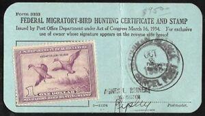 1938 DUCK Revenue #RW5 on Federal Hunting License pmk Ketchikan Alaska