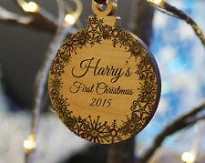 Bois massif personnalisé Arbre de Noël décoration babioles bébé Premier Noël