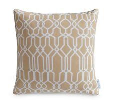 "Beige Geometric Cushion Cover 100% Cotton 16"" Pillow Moroccan Lattice"