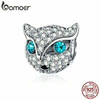 BAMOER Genuine S925 Sterling silver Women Charms Cat face With CZ Fit Bracelets