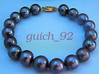 "NEW GREAT AAA 10-11MM SOUTH SEA BLACK PEARL BRACELET 7.5-8"" 14K GOLD #92"