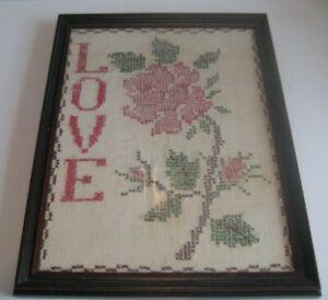 "VTG 70s Custom Cherry Framed 13""x10"" Cross Stitch Embroidery Love Rose Valentine"