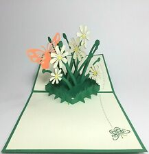 Daisy Pop Up Card. 3D Flowers Thank You/Valentine's Day/Birthday/Get Well Card