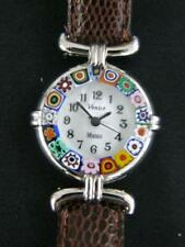 MURANO GLASS VENICE MILLEFIORI CANDY CANE LADY'S WATCH - BROWN STRAP