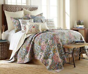 Coverlet Quilt BedSpread 100% Cotton & Filling Queen Silver Floral 230cmx230cm
