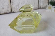 Vintage Yellow Glass Trinket Box Art Deco Straight Lines Modern True Yellow Glas