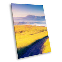Blue Yellow Field Nature Portrait Scenic Canvas Wall Art Large Picture Prints