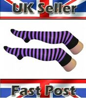 Women/'s or Teen/'s White /& Lilac Stripe Over The Knee Socks Fancy Dress Accessory