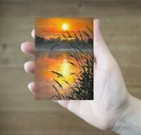 ACEO sunset river misty landscape original oil canvas painting art card