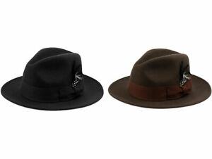 Premium Wool Felt Fedora Crushable Hat w/Grosgrain Band, Feather Flat Brim