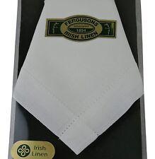 Thomas Ferguson Mens Plain Linen Handkerchief Punchspoked 16.5In Sq White