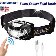 60000lm LED HeadLamp Motion Sensor USB Rechargeable head lamp headlight 5 Modes