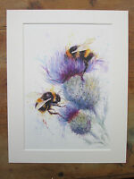 "print of original painting Watercolour 2 Bees on thistles in 10/"" x 8/"" Mount"