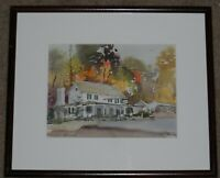 """JOAN BITZER SIGNED ORIGINAL WATERCOLOR PAINTING TITLED """"VALLEY GREEN"""" OF HOUSE"""