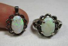 Vtg Scalloped Sterling Silver White Opal Ring & Pendant Set, size 7