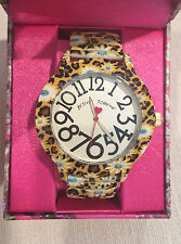 NWT Rare Large Betsey Johnson Stretch Daisy Floral flower yellow watch