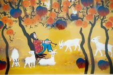 "Zhang Qingyi (1954-) Original Huxian Farmer's Painting  Fall Thoughts 28"" X 25"""
