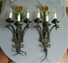 GORGEOUS ARTS & CRAFTS HAND WROUGHT, HAMMERED 3-ARM PAINT DECORATED IRON SCONCES