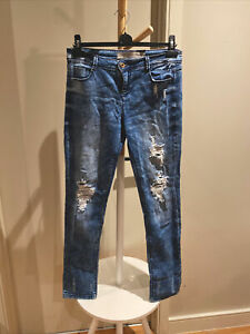 Denim Co Size 10 Light Wash Stretchy Ripped Blue Jeans With Padding