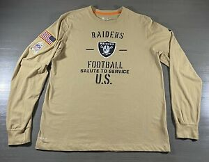Oakland Raiders Long Sleeve Shirt Adult Large Beige Nike Salute to Service Men's