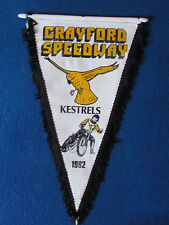 Vintage Speedway Pennant - Crayford Kestrels - 1982