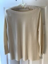 Cream Jumper With Buttons On Sleeves, Size 16