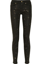 $600 Versus By Versace Black & Gold Studded Mid-Rise Skinny Jeans Sz 28