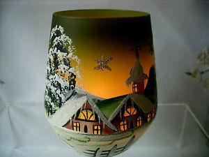 Windlicht Becher Lauscha Glas Handmalerei Weihnacht Winterlandschaft