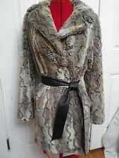 Nine West Womens Med. Faux Fur Coat Jacket Snaps and Ties