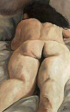 Original Pintura al óleo sobre lienzo. 17x11''. Desnudo Arte Erótico femenino desnudo.